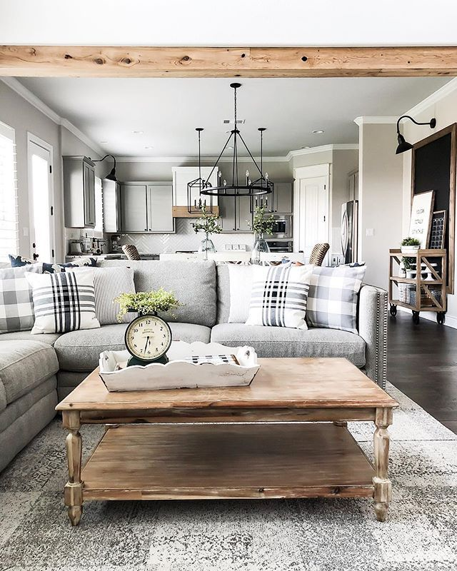 Love This Modern Farmhouse Style Living Room And Kitchen Those Plaid Pillows A Farmhouse Style Living Room Farm House Living Room Modern Farmhouse Living Room