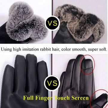 Women Ladies Fur PU Leather Gloves Screen Touch Windproof Driving Mittens at Banggood