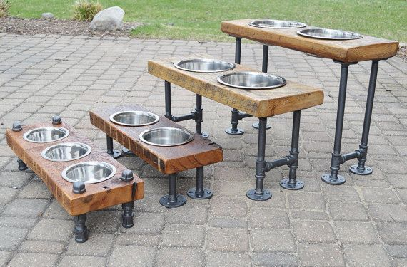 XXL Raised Dog Feeder/reclaimed barn wood / Up cycle / metal piping/ pets / spoiled your pet/ pampered pets/ stand up feeder