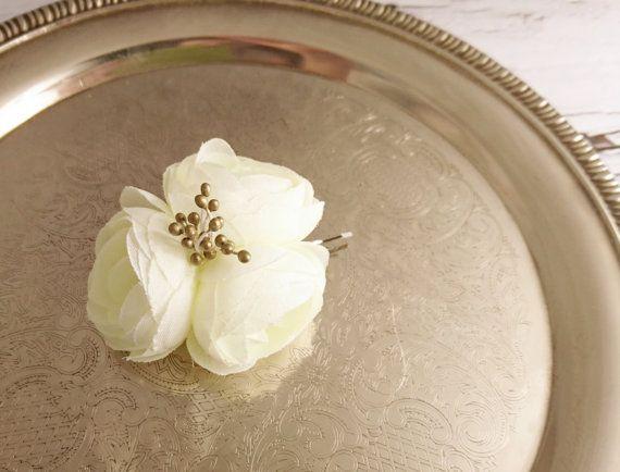 Bobby pin wedding hair clip  silk flower peonies by MKedraWedding