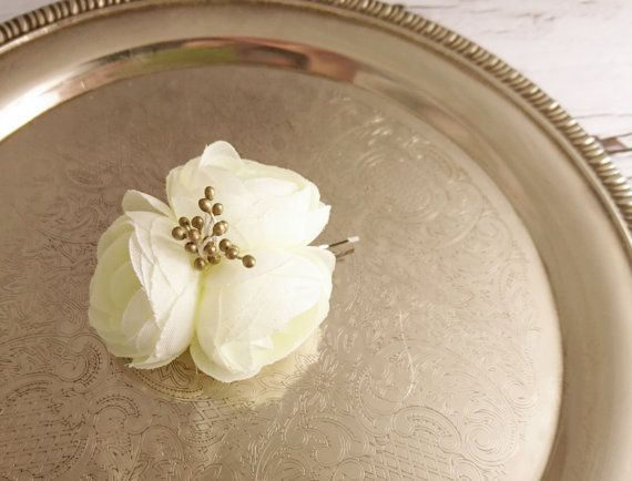 Bobby pin wedding hair clip  silk flower peonies by MKedraWedding