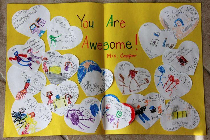 The easiest handmade thank you teacher card idea from a class, and it is so heartfelt.