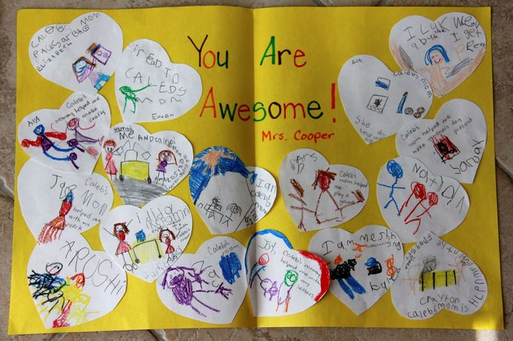 The easiest handmade thank you teacher card idea from a class, and it is so heartfelt.