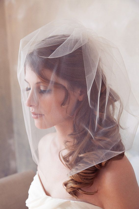Tulle Veil Bridal Illusion Birdcage Veil Blusher by GildedShadows