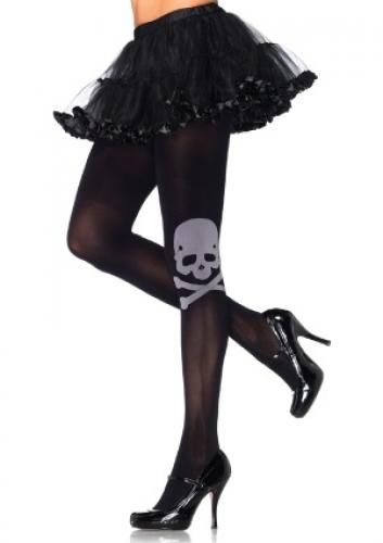 BLACK SPANDEX OPAQUE TIGHTS WITH WHITE SKILL AND CROSSBONE