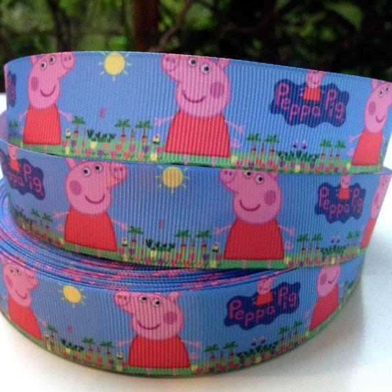 3 YARDS Peppa Pig 1  Grosgrain Ribbon by OliverandMay on Etsy, $6.84