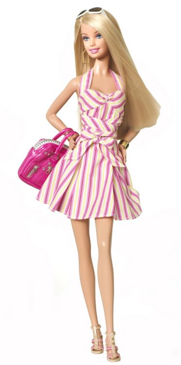 Posted on February 22, 2009 - New Barbie dolls have been revealed to celebrate the Barbie's 50th Anniversary. They include the 2009 Quintessential Barbie doll. She wears a cute pink & white striped dress & carries a pink handbag | UPDATE: The 50th anniversary of Barbie also featured an amazing Barbie fashion show at NY Fashion Week. You can see a video of the show here by clicking on VISIT.
