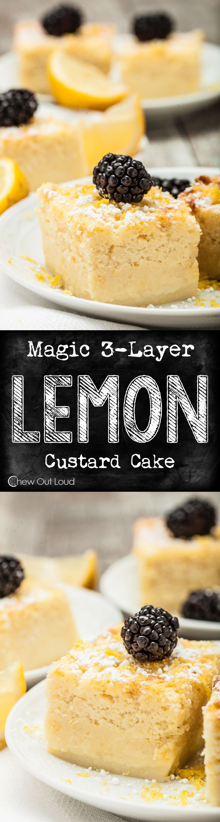 This was truly special! One batter => 3 yummy layers! Sponge cake, custard, and lemony goodness.  #lemon #dessert #cake