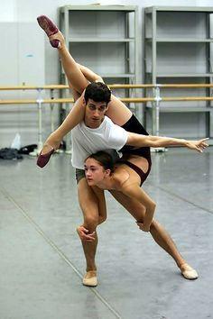 Ballet pas de deux. It's a little awkward, but it could work.