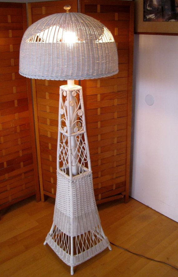 Victorian style vintage wicker floor lamp by robinstreasurechest