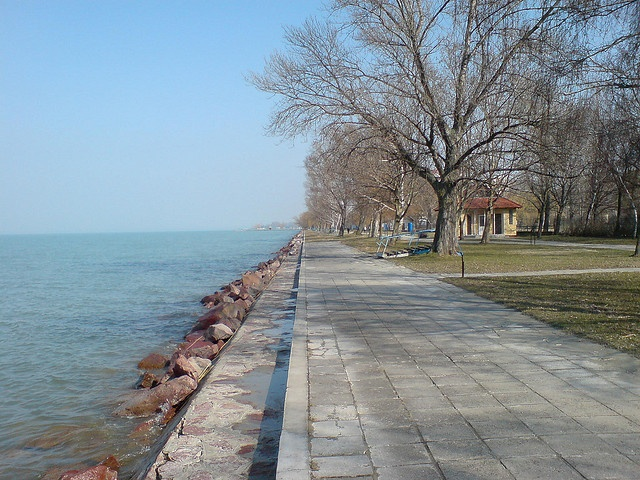 More beach, this time heading out to the west of Siófok     Siófok,
