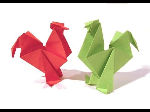 Easter Origami Rooster / hen - Tutorial - How to make an origami rooster / hen - YouTube