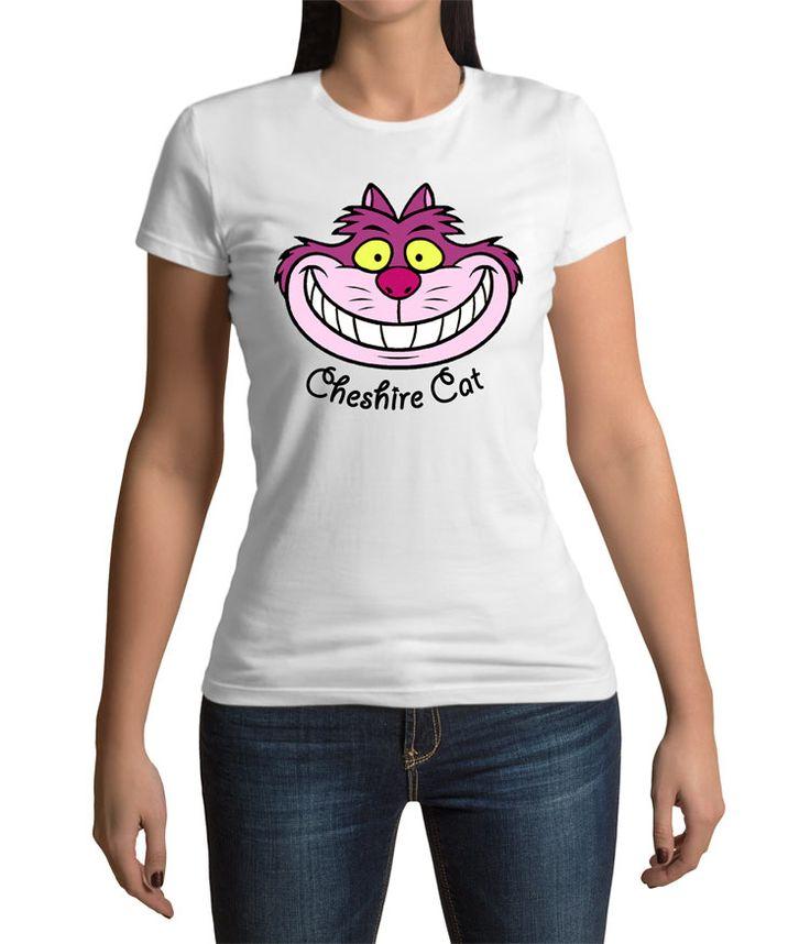 Camiseta chica Alicia en el País de las Maravillas. Cheshire rostro  Estupenda camiseta para chica con el diseño de estilo cómic del rostro del famoso gato Cheshire con su amplia sonrisa, un personaje visto en el film de Alicia en el País de las Maravillas.