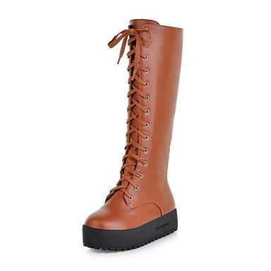 leatherette salto baixo meados de bezerro botas com lace-up party / noite sapatos (mais cores) – EUR € 41.24