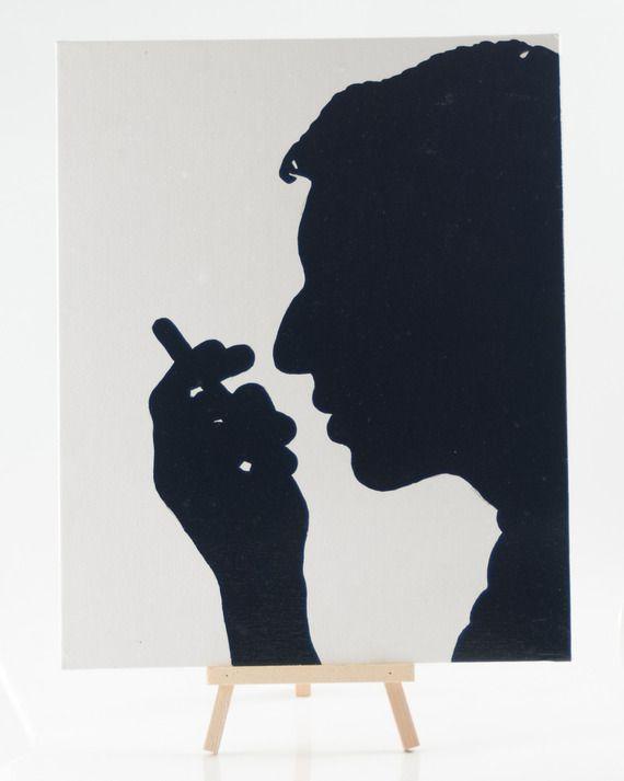 Toile silhouette de Serge Gainsbourg au Posca http://www.alittlemarket.com/peintures/fr_toile_silhouette_de_serge_gainsbourg_au_posca_-8664725.html