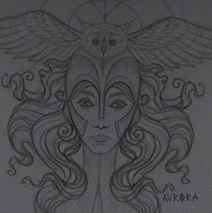 Созревает новый эскиз. Афина  Делаю наброски ------------------------------------------  aurora.zlova@gmail.com  #linework #dotwork #woodcut #tattoosketch #sketch #blackworksubmission #blacktattoo #bw #blackart #womantattoo  #owltattoo #tattooartist #tattooart #tattoopins #floraltattoo #pagan #druid #witch #celtic #эскиз #татуэскиз Aurora Zlova tattoo (тату, эскизы, графика, Спб)