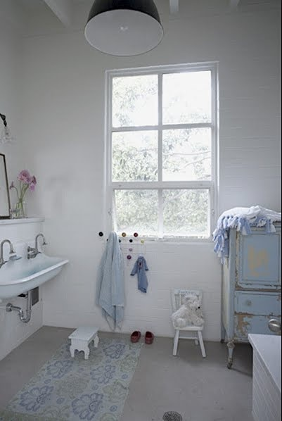 trough sink: Kids Bathroom, Apartment Therapy, The Angel, White Bathroom, Amy Laurel, Houses Tours, Kids Decor, Blue Bathroom, Old Bathroom