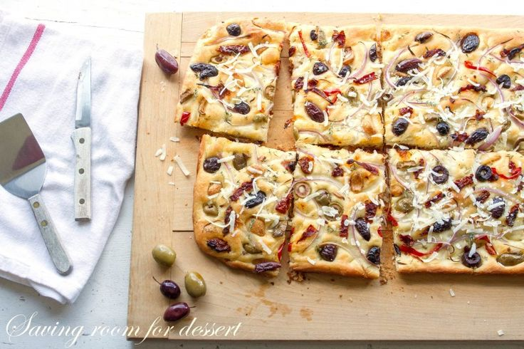 Olive, Onion, and Sun Dried Tomato Fococcia-@Saving Room for Dessert