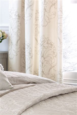 Buy Damask Natural Pencil Pleat Curtains from the Next UK online shop