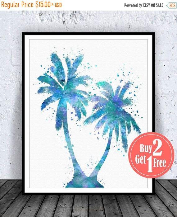BIG SALE: Blue Palm Tree Print Palm Tree Poster Palm by CarmaZoe