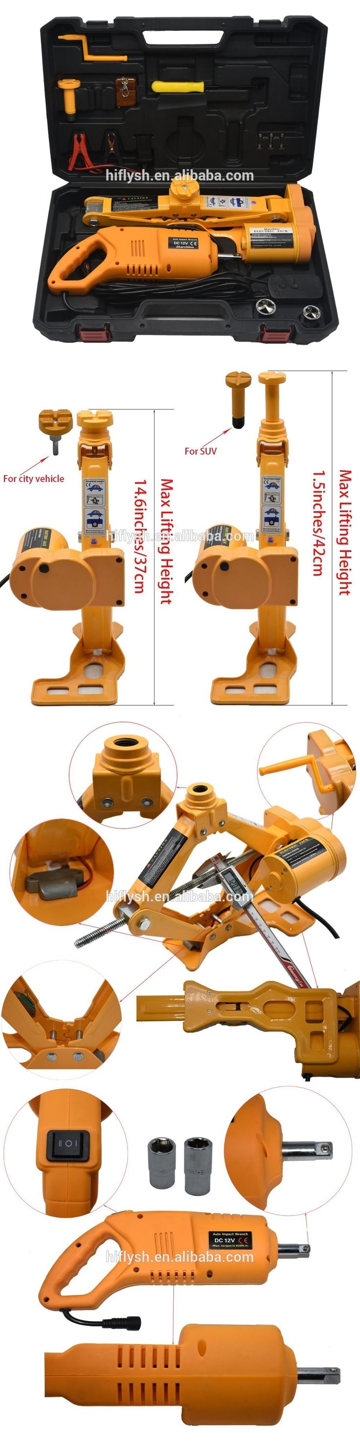 12V DC 2.5T(5500lb) Electric Car Jack - Double Saddles for Vehicle and SUV - and Electric Impact Wrench with Wireless Remote