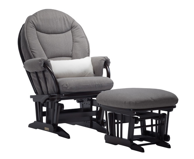 985 Series This wood glider features rounded seatback and base with wooden dowels.