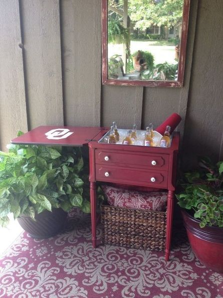 repurposed sewing machine cabinet into cooler for football fans, repurposing upcycling, open it up and let the party begin