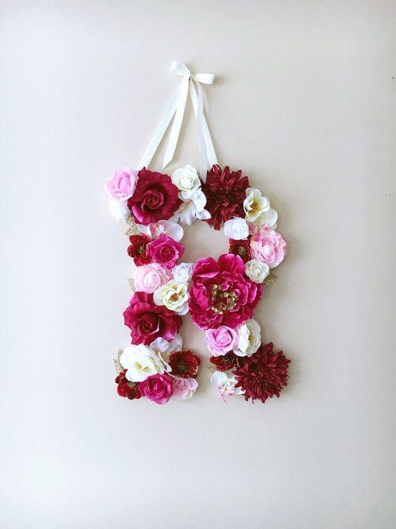 Personalized nursery flower letters 45 cm/17.7 by PaulettaStore