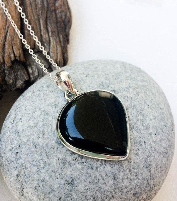 Natural Copper Black Onyx Gemstone Jewelry Solid 925 Sterling Silver Pendant