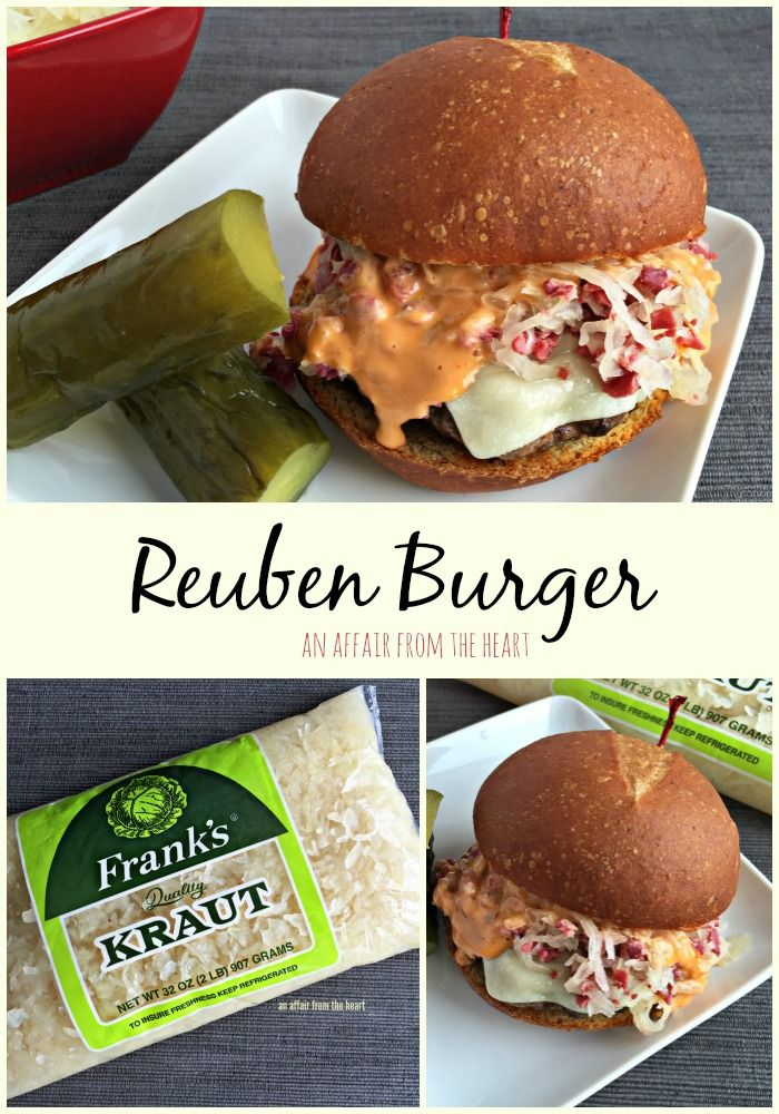 Reuben Burger - Love a good burger?  How about a good Reuben?  Find the best of both worlds in this EPIC Reuben Burger! #NationalBurgerMonth - anaffairfromtheheart.com