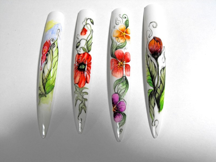 Nail art - Aquarelle painted flowers on nails.