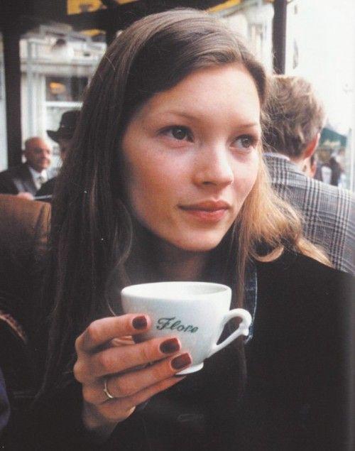 vintage Kate Moss at Cafe Flore