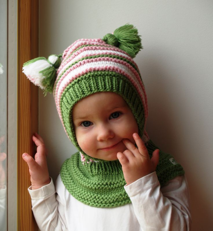 Waldorf inspired winter and snow hat. Hand knitted hoodie / balaclava hat for baby, toddler, child. Made from 100% merino wool in bright green, pink and white. Soft and very functional - perfect to keep the little ones warm and cozy during cold days           Size: 6-12 Months  1-3 Years 3-6 Years 6-10 Years           Price: 39$