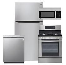 """Large Capacity 33"""" Wide, Top Freezer Refrigerator, Gas Range, Over-the-Range Microwave Oven, and Dishwasher Package -"""