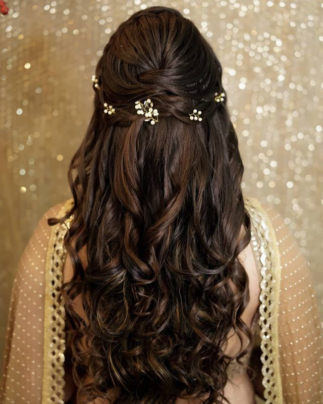 Why Flowers In Open Hair Are The Best Way To Add A Touch Of Glam In Your Mehendi Hairstyle Hair Styles Long Hair Styles Wedding Hairstyles For Long Hair