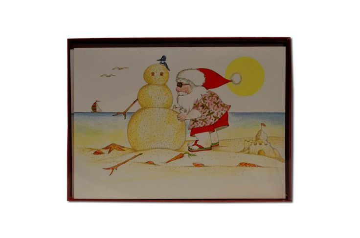 Santa and Sand Snowman Holiday Card - loggerhead