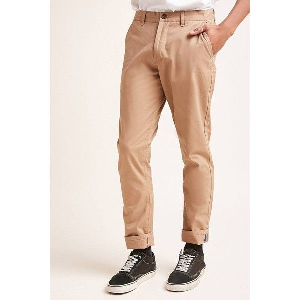 Forever21 Slim-Fit Twill Chinos ($20) ❤ liked on Polyvore featuring men's fashion, men's clothing, men's pants, men's casual pants, khaki, mens zipper pants, mens khaki pants, mens slim khaki pants, mens slim fit khaki pants and men's five pocket pants