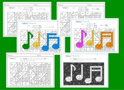 Music themed coloring math - lower elementary math skills pack from Eleonora on TeachersNotebook.com (19 pages)