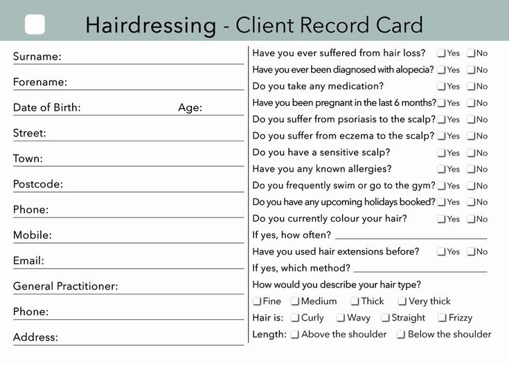 Customer Info Card Template New Hairdressing Client Card ...