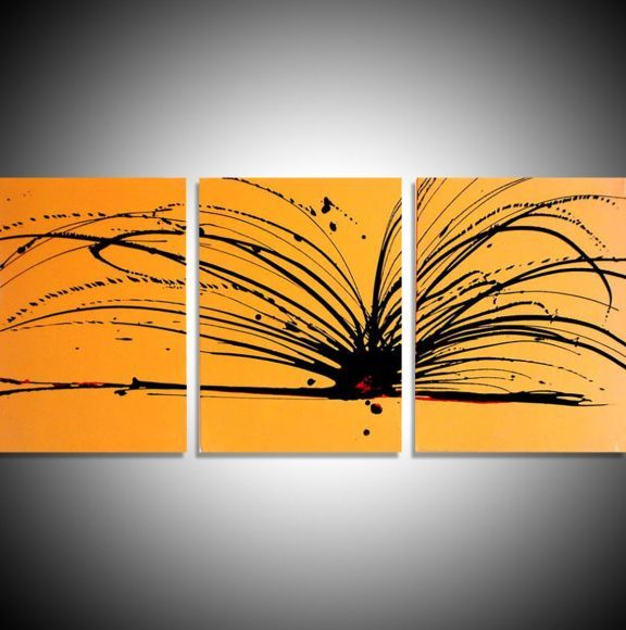 "triptych yellow and black original painting abstract  wall canvas art ""Buttercup Chaos"" 20 x 48 inches 3 other sizes available"