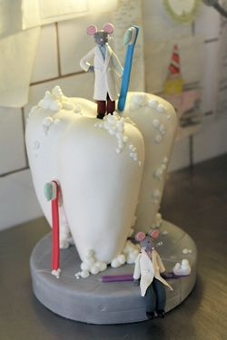 tooth cake, probably not approved by 9 out of 10 dentists.