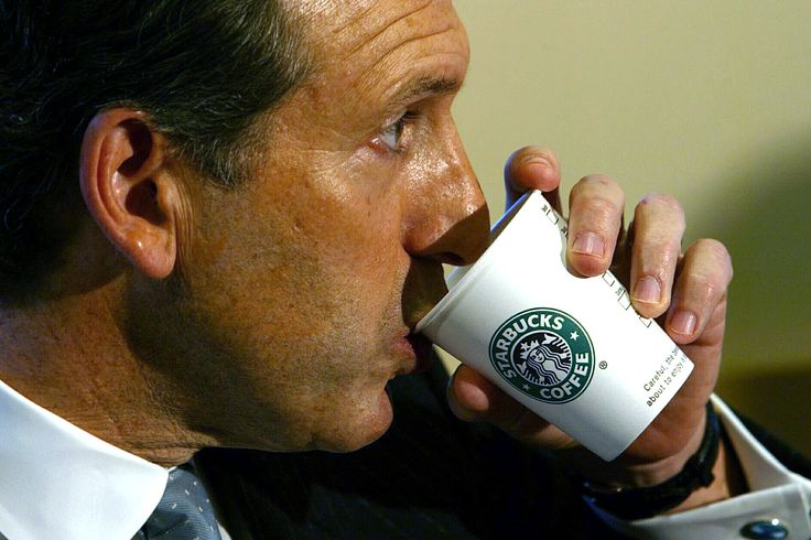 Howard Schultz, the President of Starbucks Coffee Company takes a sip of coffee as he assists in the opening of his first coffee house in Paris, January 15, 2004. The coffee house is situated on Avenue de l'Opera at the heart of Paris' tourist district. REUTERS/Charles Platiau  PP04010041 MAL/WS via @AOL_Lifestyle Read more: http://www.aol.com/article/finance/2016/12/01/starbucks-ceo-howard-schultz-to-step-down/21618657/?a_dgi=aolshare_pinterest#fullscreen