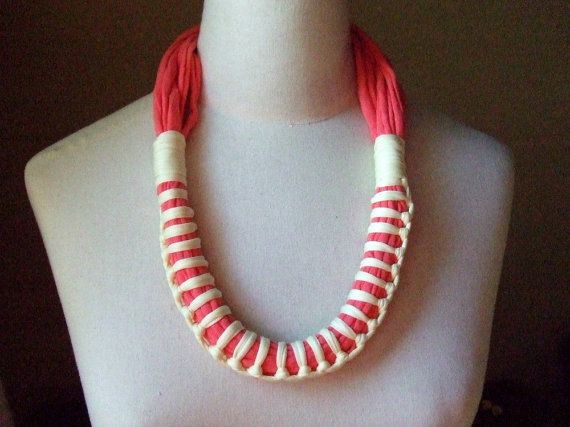 Necklace, ZULU  -   t-shirt yarn, recycled yarn, necklace in salmon and yellow colors.