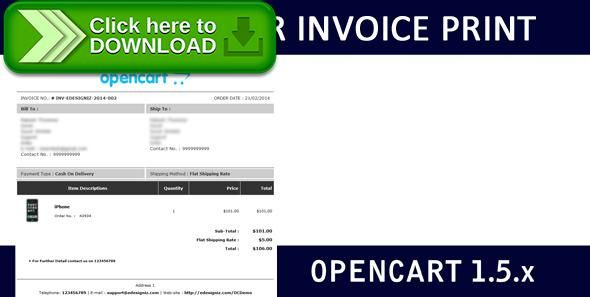 Free nulled Admin-Side Order Invoice Print Layout - OpenCart - invoice print