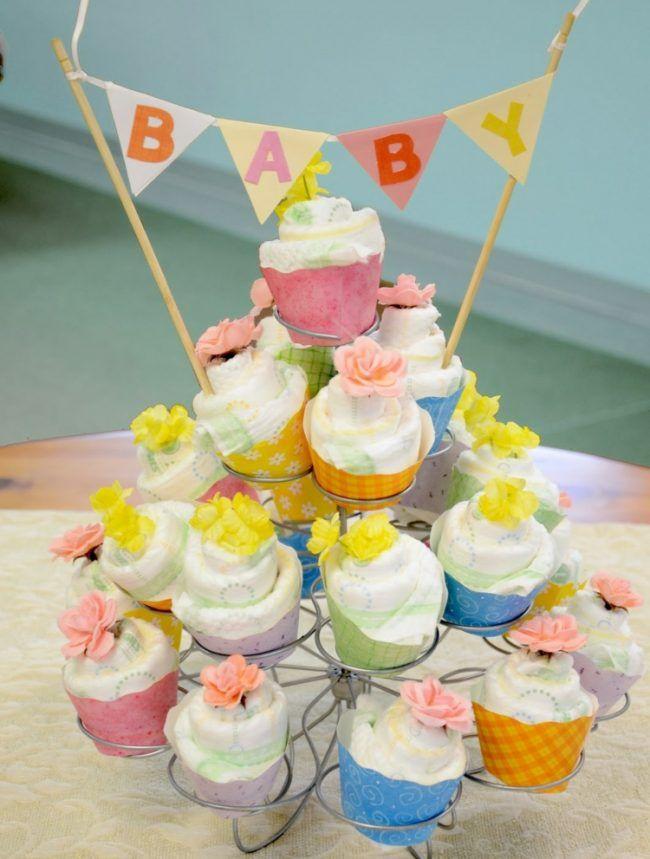 windeltorte selber machen cupcakes bunt pampers baby party. Black Bedroom Furniture Sets. Home Design Ideas