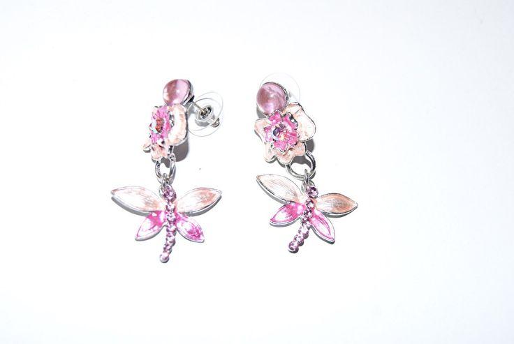 O13 ROZE ROSE ZILVER vlinder oorbellen met stekertjes - O13 - PINK SILVER earrings Butterfly | Cadeau - Kado-Bon - Gifts | buikdanswinkel-webshop