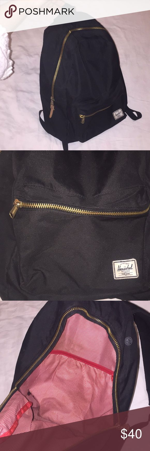 Black and gold backpack Light weight and comfy to wear. In really good condition ! Herschel Supply Company Bags Backpacks