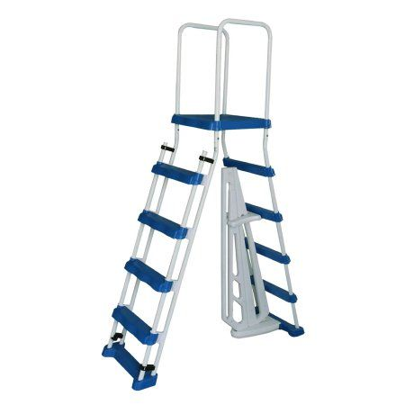 52-in A-Frame Ladder w/ Safety Barrier and Removable Steps for Above Ground Pools, White