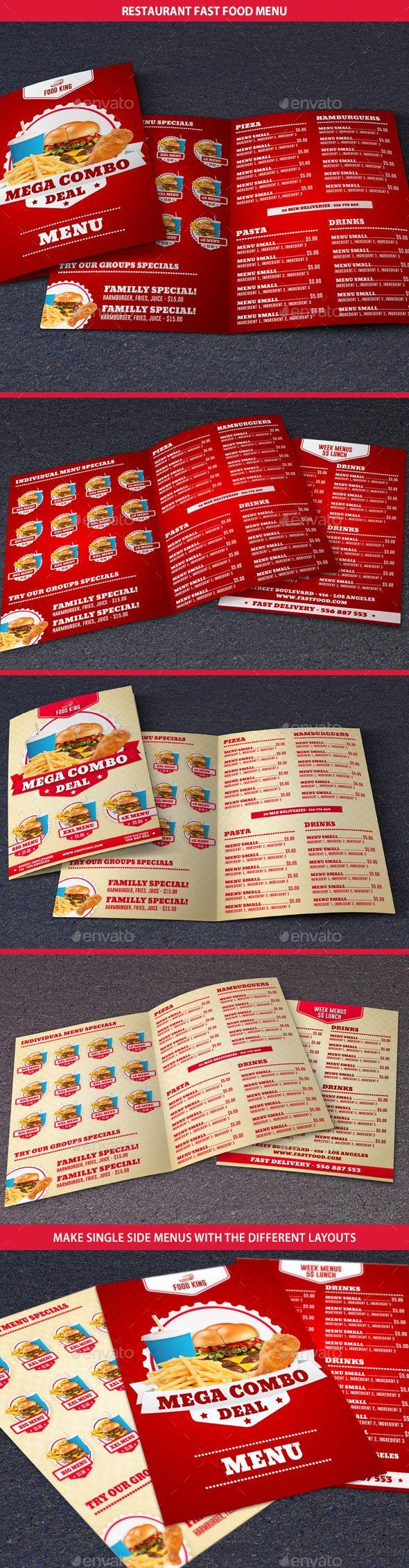 Restaurant Fast Food Menu - Food Menus Print Templates Download here : https://graphicriver.net/item/restaurant-fast-food-menu/10412250?s_rank=905&ref=Al-fatih