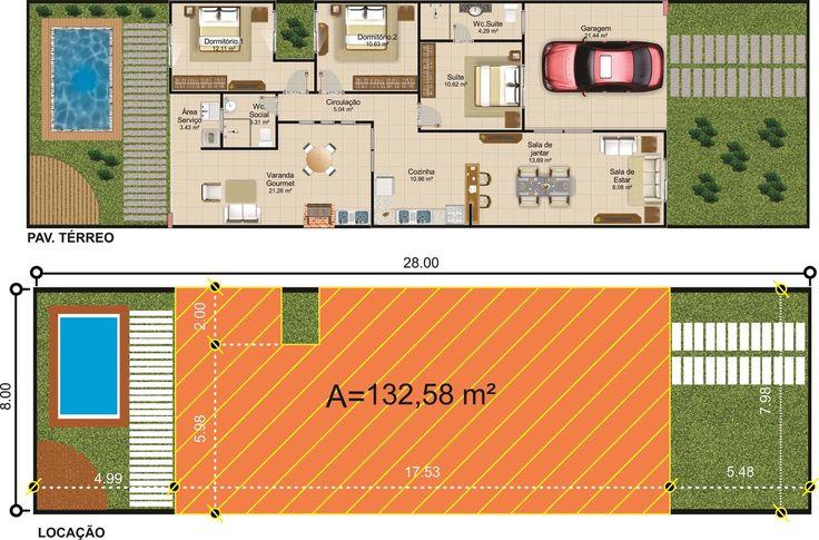 ProjetarCasas: Planta de Casas   Planta de casa moderna; 3 quartos e varanda gourmet - Cód 48